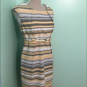 Madison Lee Striped super stretch below knee dress